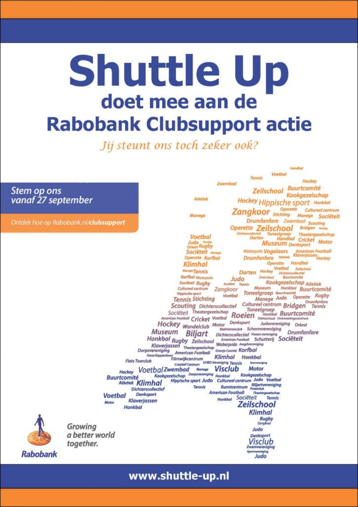 Shuttle Up doet mee aan Rabobank Clubsupport actie